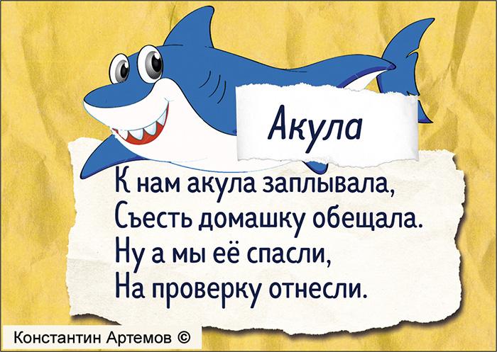 К нам акула заплывала, Съесть домашку обещала. Ну а мы её спасли, На проверку отнесли.
